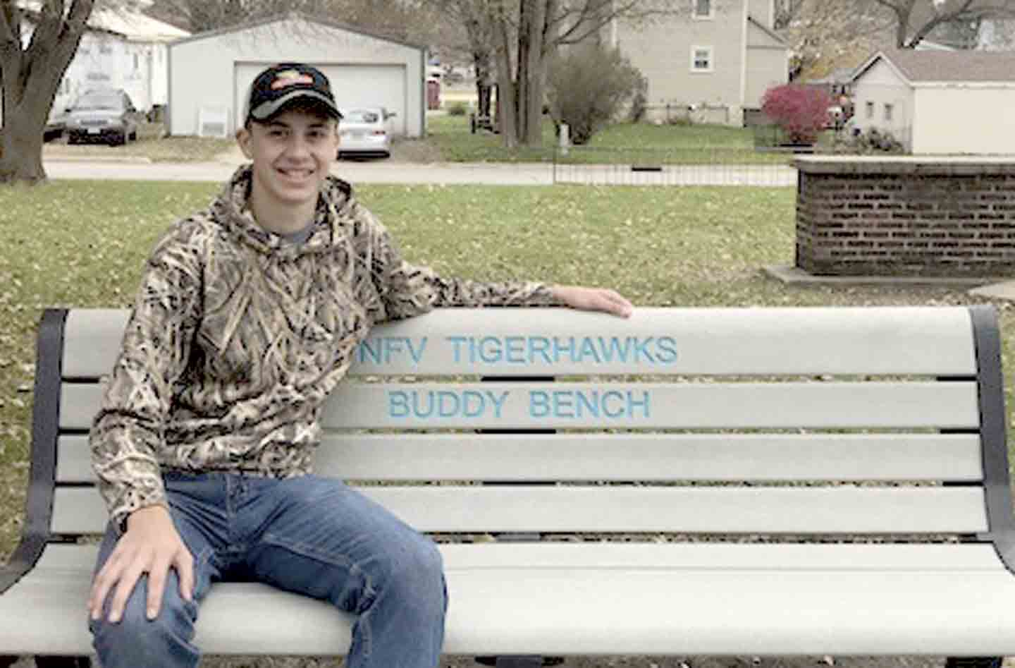 """Brennan Imoehl installed the """"Buddy"""" benches at the West Union and Fayette Elementary schools last school year as part of his Eagle Scout project.(submitted photo)Imoehl soars with Buddy Bench idea for Eagle Scout project""""I liked this..."""
