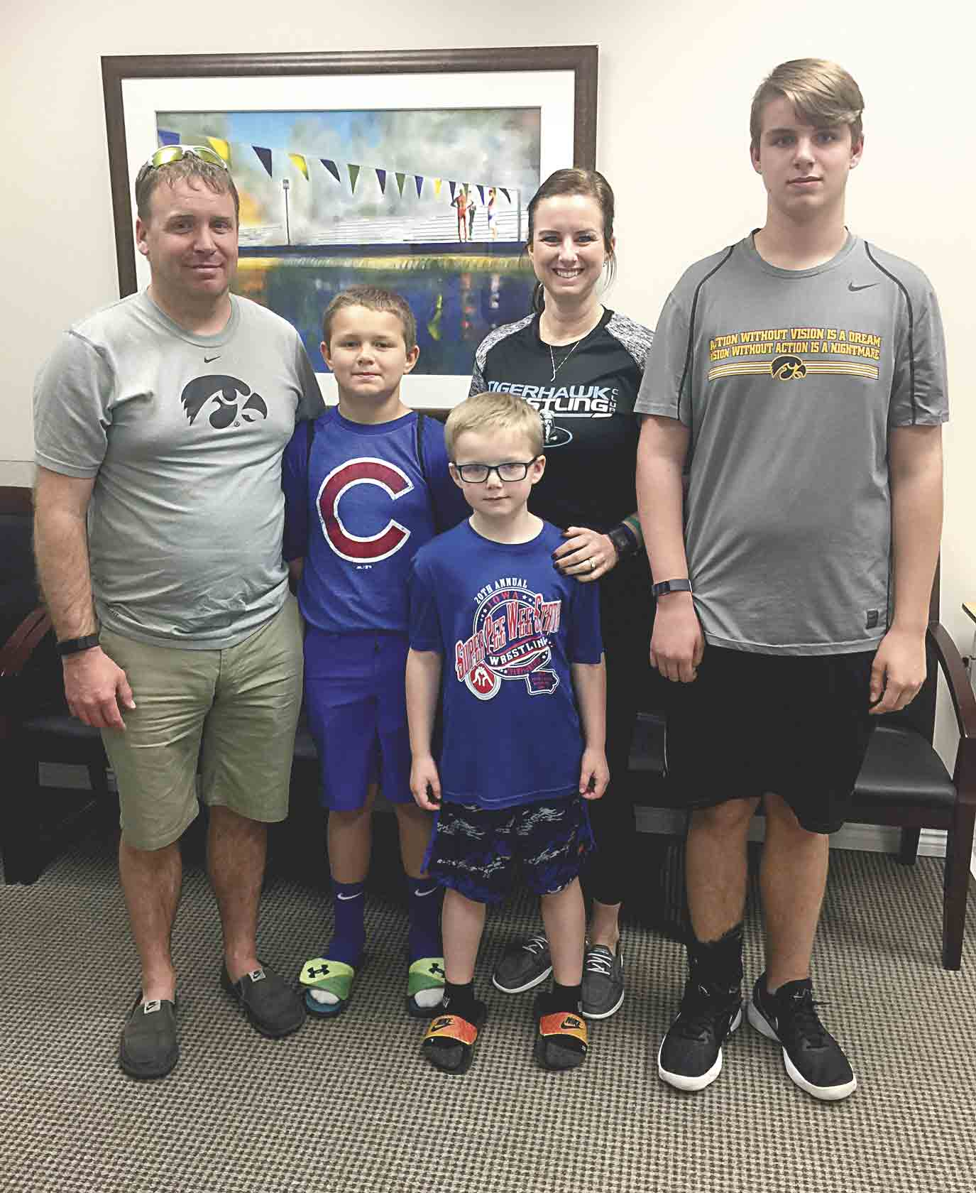 Chase Aeschliman (far right) recently visited the Institute for Neurological Recovery in Boca Raton, Fla., to receive an injection of Enbrel. Enbrel is a FDA-approved anti-inflammatory drug used to treat rheumatoid arthritis that Dr. Edward Tobinick is using to treat stroke survivors. The...