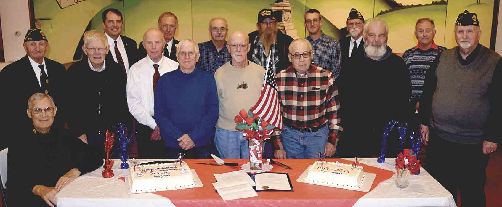Clermont Legion Post 375 celebrated its 100th Anniversary Monday evening with a joint banquet with the ladies auxiliary at the Clermont Opera House. Enjoying the celebration were seated Richard Barnes; standing (l-r) Kenny Kohls, Bob Swenson, State Representative Michael Bergan, Bob Fassbinder,...