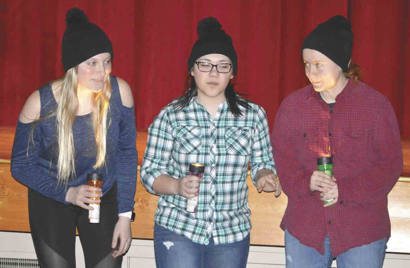 "South Winneshiek students (l-r) Leah Cullen, Tonya Schirmer, and Emily Nichols search for the right cow to tip in the high school's upcoming play, ""The Cow-Tippers."" Find out if they got caught, as well as many more funny moments at one of the upcoming performances at 7 p...."