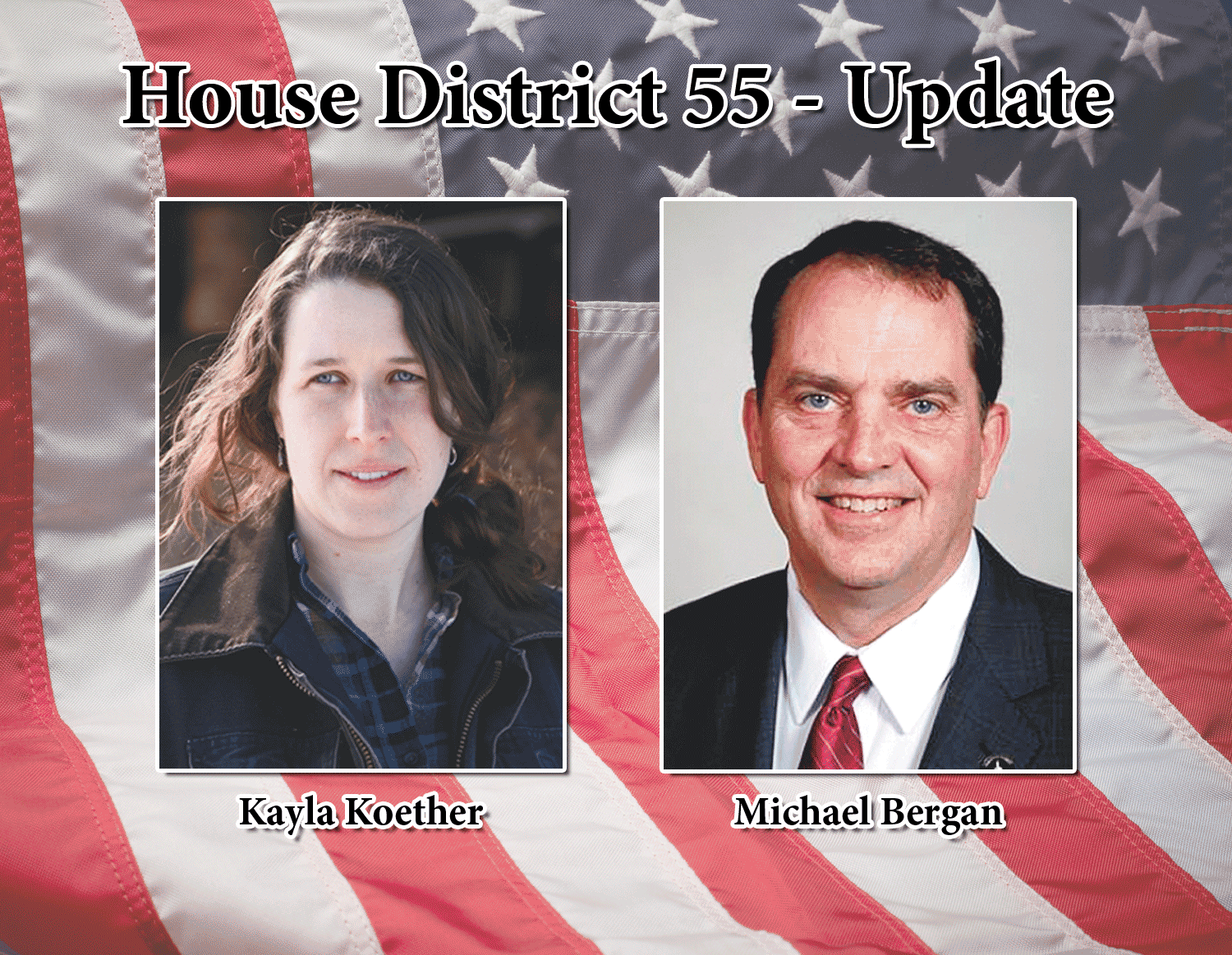 Bergan leads by seven votes by Chris DeBack	cdeback@fayettecountynewspapers.com On Tuesday, Nov. 6, the waters got a little muddier in the race for Iowa House District 55. Incumbent Republican Michael Bergan leads Democratic challenger Kayla Koether by seven votes...