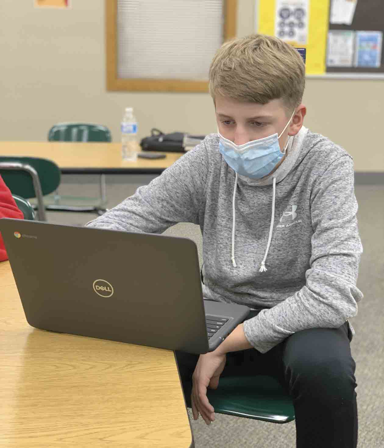 South Winneshiek freshman Eric Kriener works on an assignment during a study hall period. While Kriener is one of the face-to-face learners at the school, others students are learning in different ways this year as the school is providing teaching methods through full-time online classes and for...