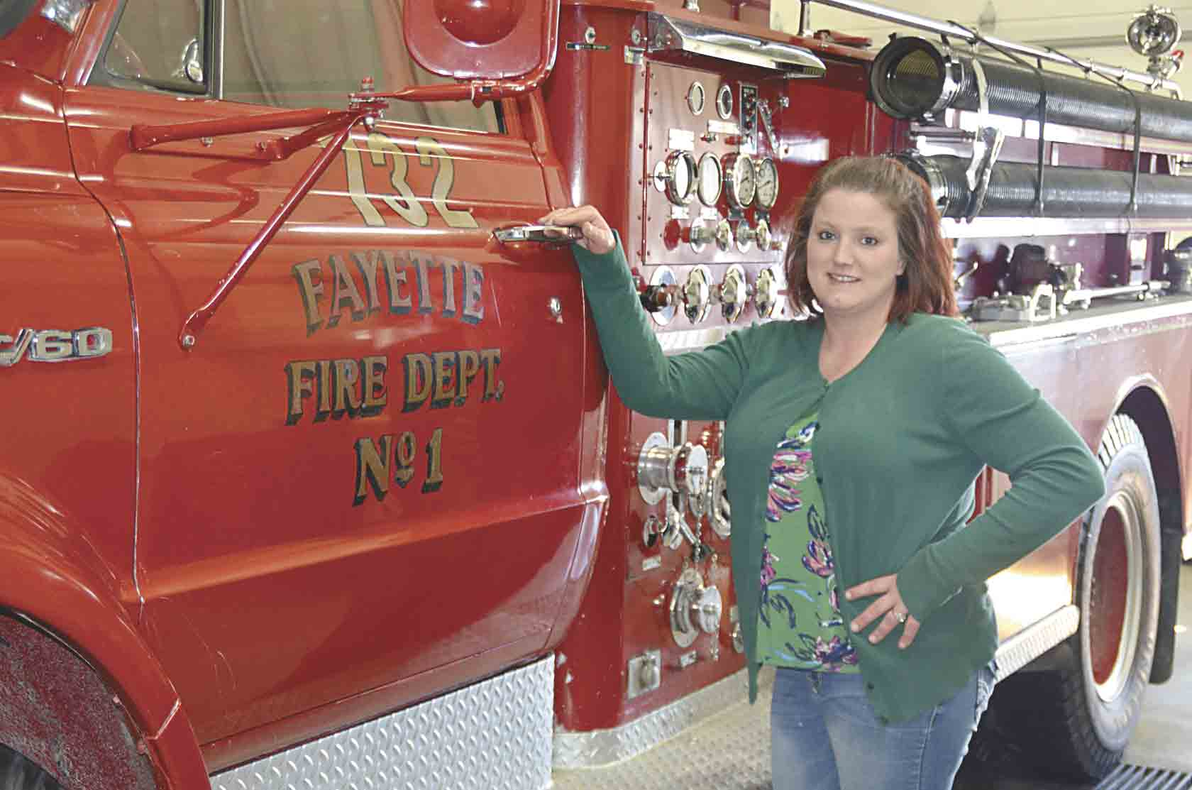 Linnie Magnuson is the newest member of the Fayette Fire Department. She was approved at the last Fayette City Council meeting on Monday, March 4.  (Chris DeBack photo) 	Magnuson joins exclusive club as a female firefighter in Fayette  By Chris Deback...