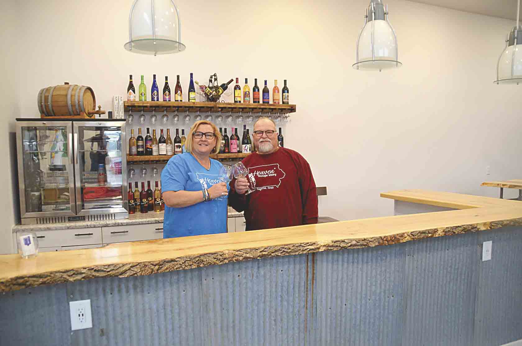 Lisa (Halvorson) and Carlton Goodwin (l-r) will open Heaven Boutique Winery on Wednesday, May 1. At first, the winery will only sell bottles of wine that have been mostly imported from different wineries on the western part of Iowa. The couple is waiting on their license from the federal...