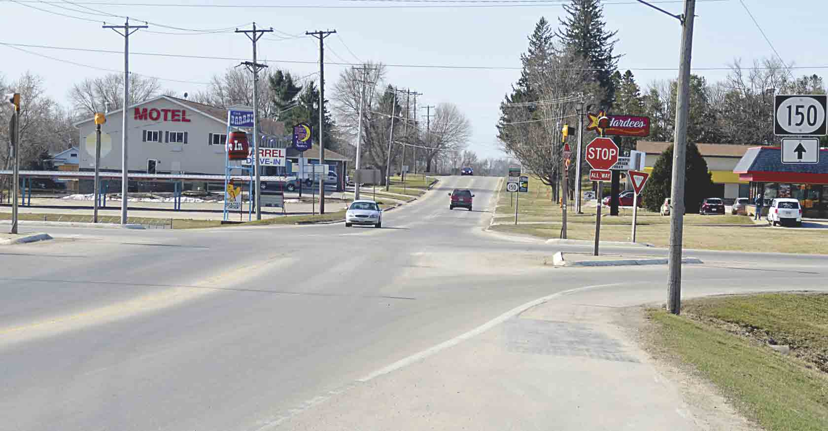 Could Highway 150 be the next four-lane corridor in Iowa? That is what the Highway 150 Coalition, made up of representatives from cities along Highway 150, is currently exploring. Shown is the intersection of Highways 150 and 18 in West Union. (Chris DeBack photo) 	Highway 150...