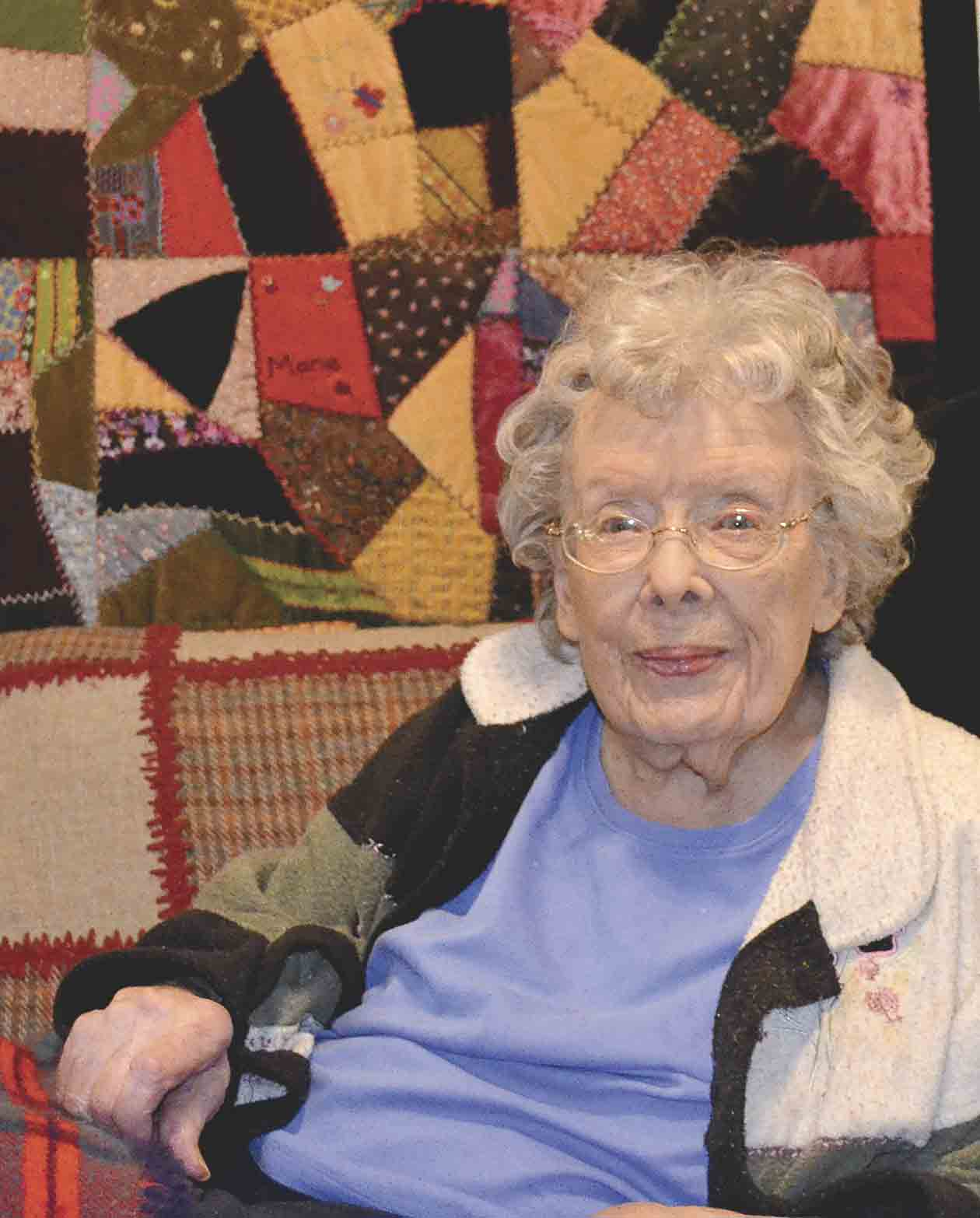 "Priscilla and her husband, Ernest ""Bud"" Hilgemann, moved to Elgin and bought a home in 1961.  As she approaches her 100th birthday on Nov. 17, Priscilla still resides in the same home, which is decorated with the many colorful quilts (such as the one hanging behind..."