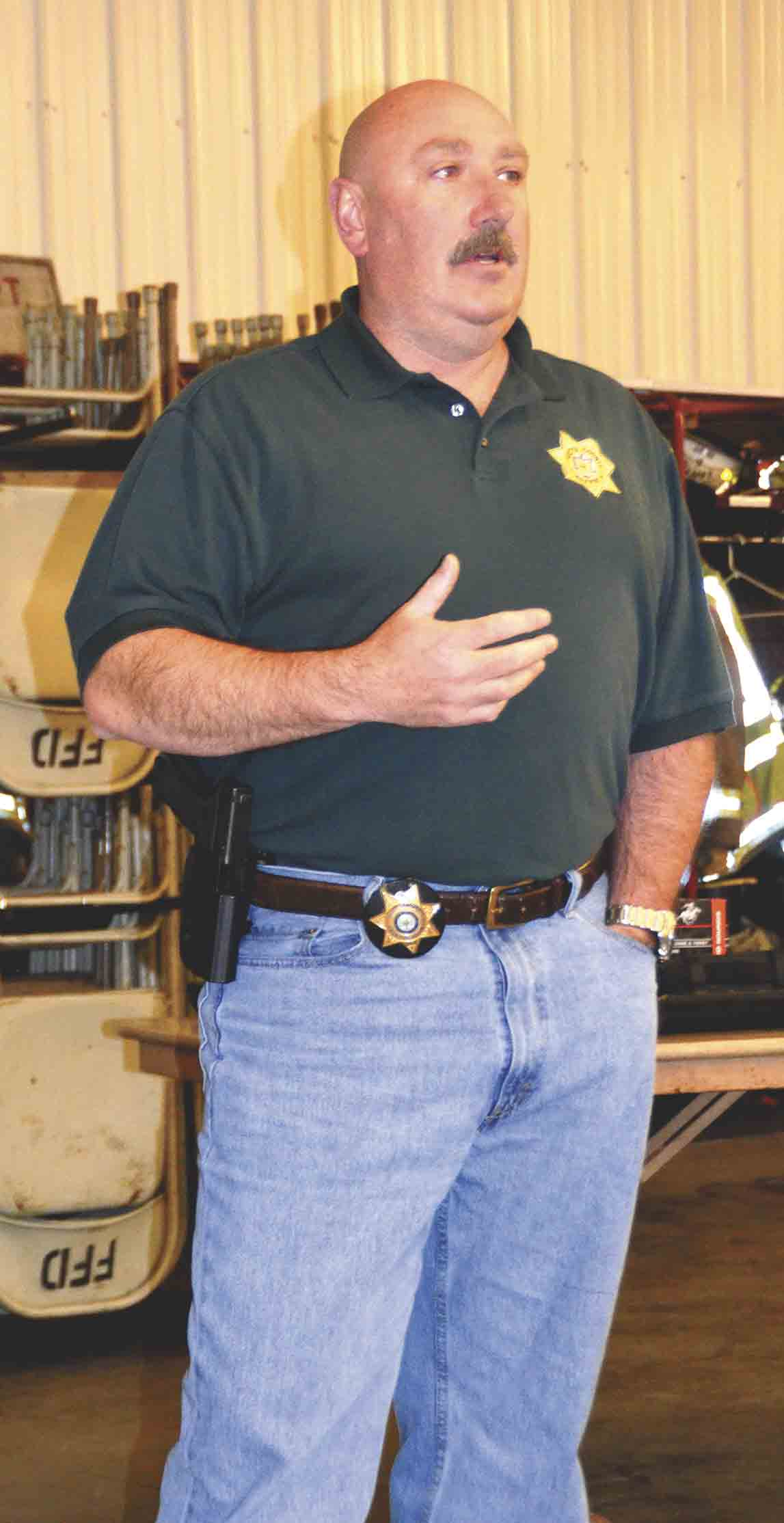 im Davis, Fayette County Sheriff's chief deputy, gave a presentation on Wednesday, April 12, to members of the public at the Fayette Fire Department on an Oran man who was arrested last year with bomb-making material. The man had served in the U.S. military and suffered from PTSD....