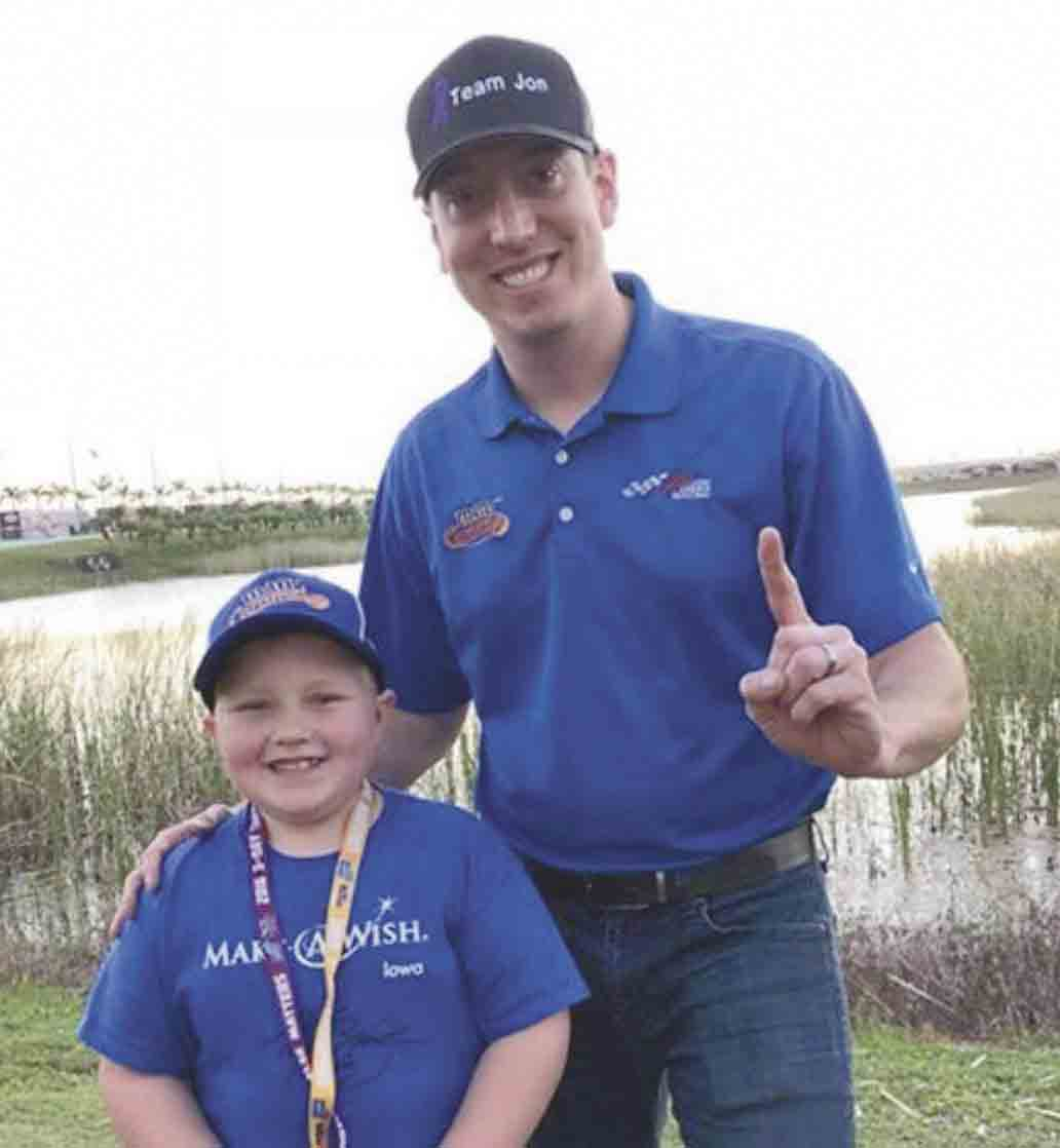 Jonathan Oakland (left) stands by his new friend, NASCAR driver Kyle Busch, as his Make-A-Wish desire was granted, and he was able to attend a race at Homestead-Miami Speedway in November. Oakland was diagnosed at the age of 4 with Chiari malformation, a structural defect in the cerebellum...