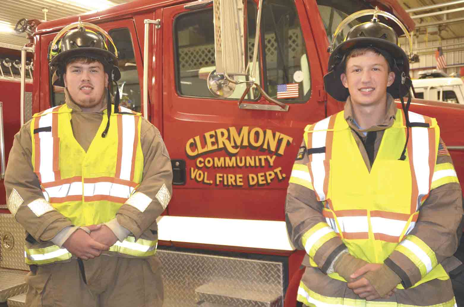 Andrew Schmidt (left) and Dane Schott have their own fire fighting outfits at the Clermont Fire Department. The two junior firefighters both hope to have careers in firefighting. (Jack Swanson photo)Juniors want to be real firefighters some dayBy Jack Swansonjswanson@...