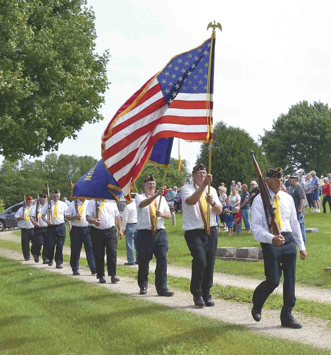 Area American Legions will be honoring the brave men and women, who lost their lives in service to our country, with Memorial Day ceremonies on Monday, May 27. American Legion Post 15 of West Union marches for veterans at the West Union Cemetery during last year's Memorial Day service...