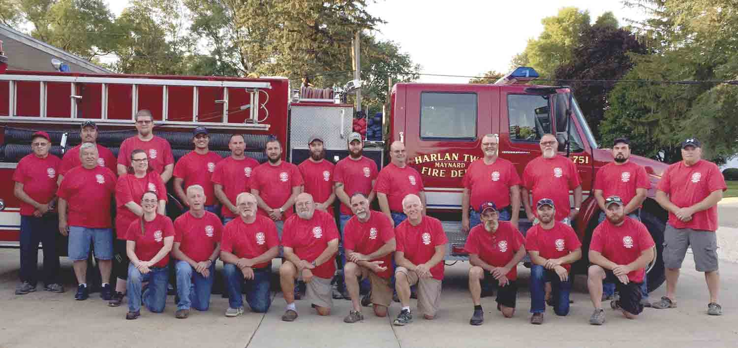 Grand Marshals for Maynard Days Friday-Sunday, June 21-23, is the Maynard Fire Department, which is celebrating its 100th anniversary. Helping protect the community of Maynard from fires are (front, l-r)Ashley Paul, Jim Donat, John Schrader, Paul Hoeger, Tom Bloom, Brad Struve, Don Westendorf...