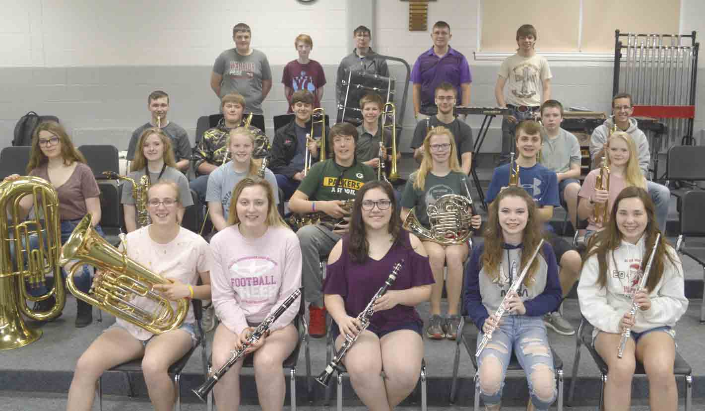 Members of the South Winneshiek band, which earned its second Division I rating in the past 50 years at the recent Large Group Festival, includes (front, l-r) Emmaleigh Ohrt, Leah Cullen, Tonya Schirmer, Scarlett Gansen, Mackenszie Schirmer; (second row) Celia Neuzil, Montanah Zweibohmer,...