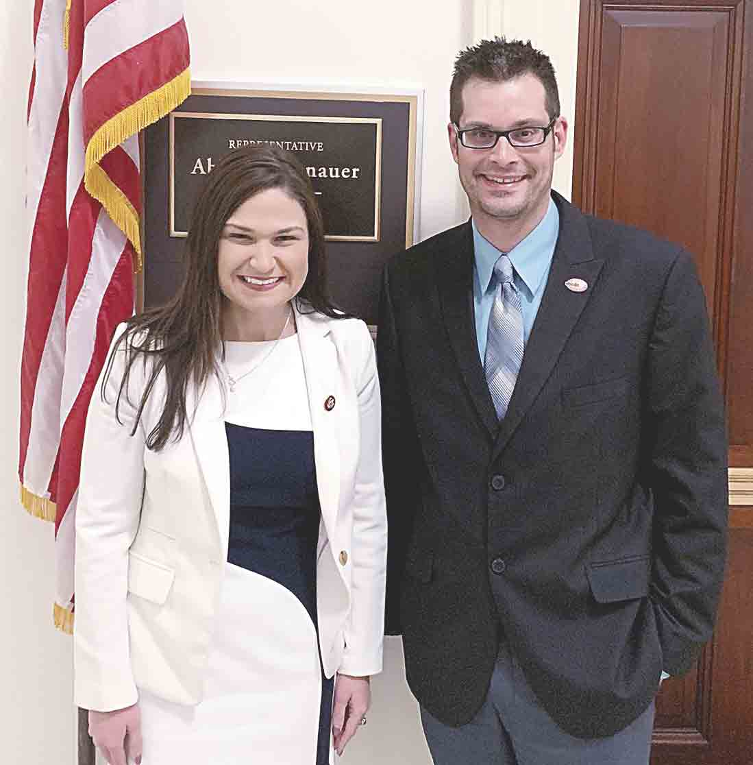 Jesse Wegner (right) of West Union pictured with Iowa's First Congressional District Representative Abby Finkenauer outside her office in the House Office Building before the State of the Union address on Tuesday, Feb. 5. (Submitted photo)Local resident invited to...