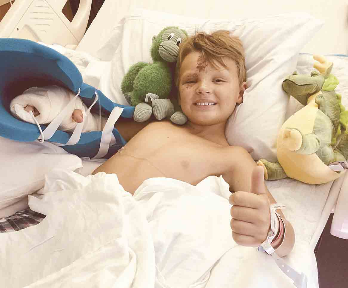 """Kort Steffens in the hospital after suffering serious injuries to his arm and hand in a UTV accident.Family will kick it forward with kickball tournament benefitBy Jack Swansonjswanson@fayettecountynewspapers.comA local family wants to """"kick it forward..."""