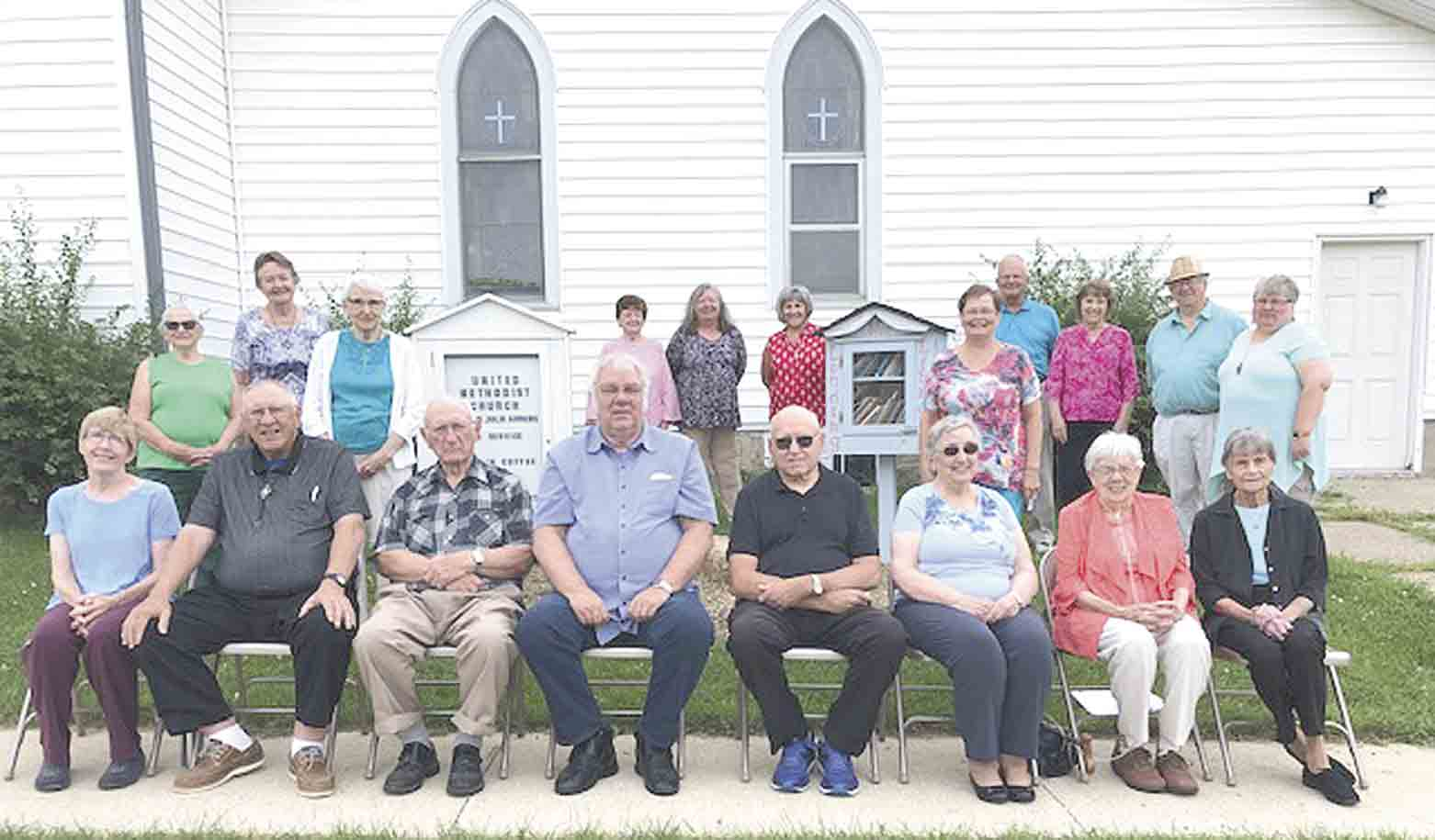 Randalia United Methodist Church is celebrating the 125th year of their church building and their 98th Annual Homecoming, Sunday, Aug. 25. Congregation members include (front, l-r) Sheila Johnson, Ron Ahrens, Norm Klink, Richard Bishop, Eldon and Shirley Rose, Pat Custer, Marlene Mayo, (back) Geri...