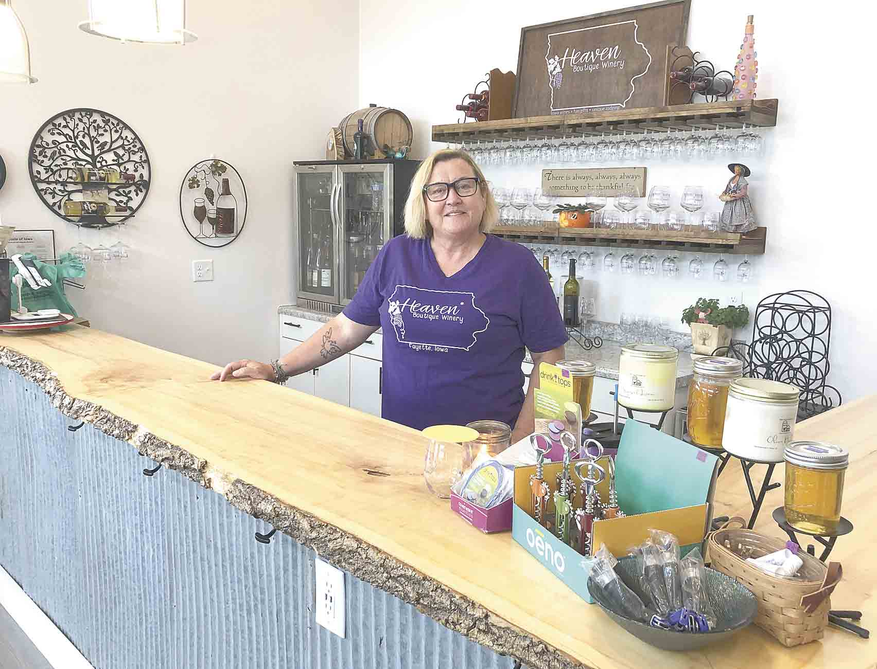 Lisa Goodwin isn't sure yet whether she will open Heaven Boutique Winery when bars in Iowa get the okay on Thursday, May 28. The winery and gift shop is located near the entrance to the Volga River Recreation Area, north of Fayette. (Jack Swanson photo) 	Heaven opening date not yet...