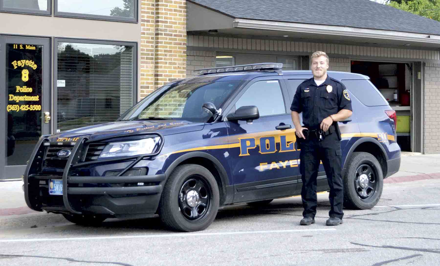 Stone Allen, Fayette's newest deputy comes to the area from Hudson. Allen began his duties as a Fayette police officer in July and is excited to begin his new position in the northeast Iowa community. (photo by Megan Molseed)Allen ready to serve the...