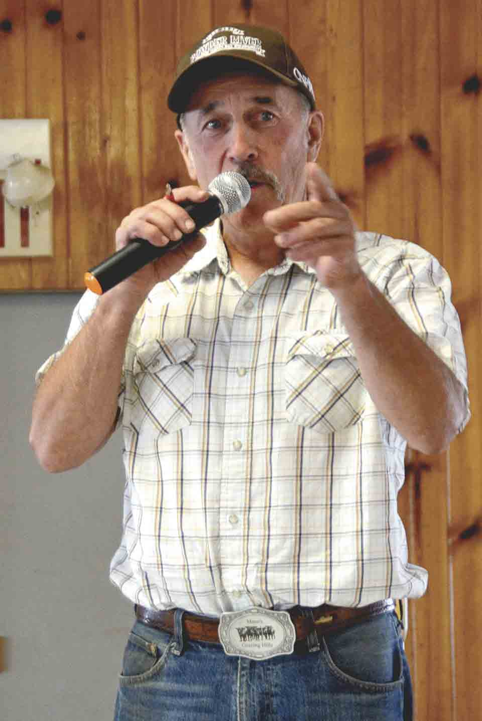 Tom Mann has been a featured auctioneer at the Fayette County 4-H Achievement Auction since 1987. Mann said that for as long as he can, he plans to come back to the Fayette County 4-H Achievement Auction at the fair each year to lend his auctioneering skills.Chris DeBack photo...